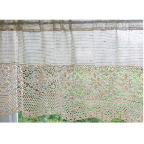 "Linen Blend Cafe Curtain Window Treatment With Crochet Lace Trim One Panel  47""W X 20""L"
