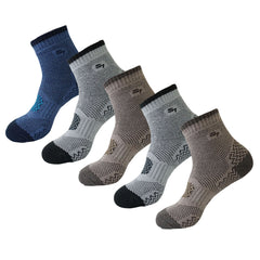 5pack Men's Full Cushion Mid Quarter Length Hiking Socks
