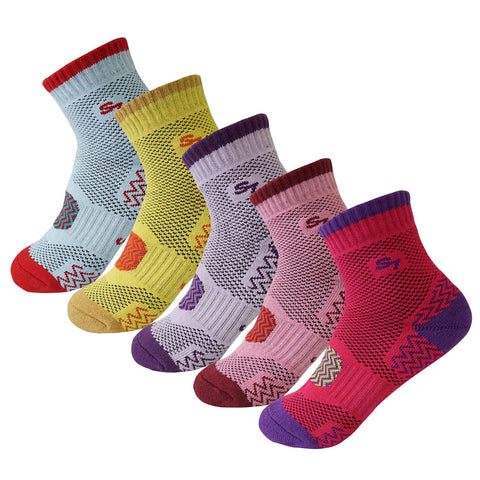 5pack Women's Full Cushion Mid Quarter Length Hiking Socks