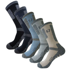 5Pack Men's Bio Climbing DryCool Cushion  Hiking/Performance Crew Socks Beige included