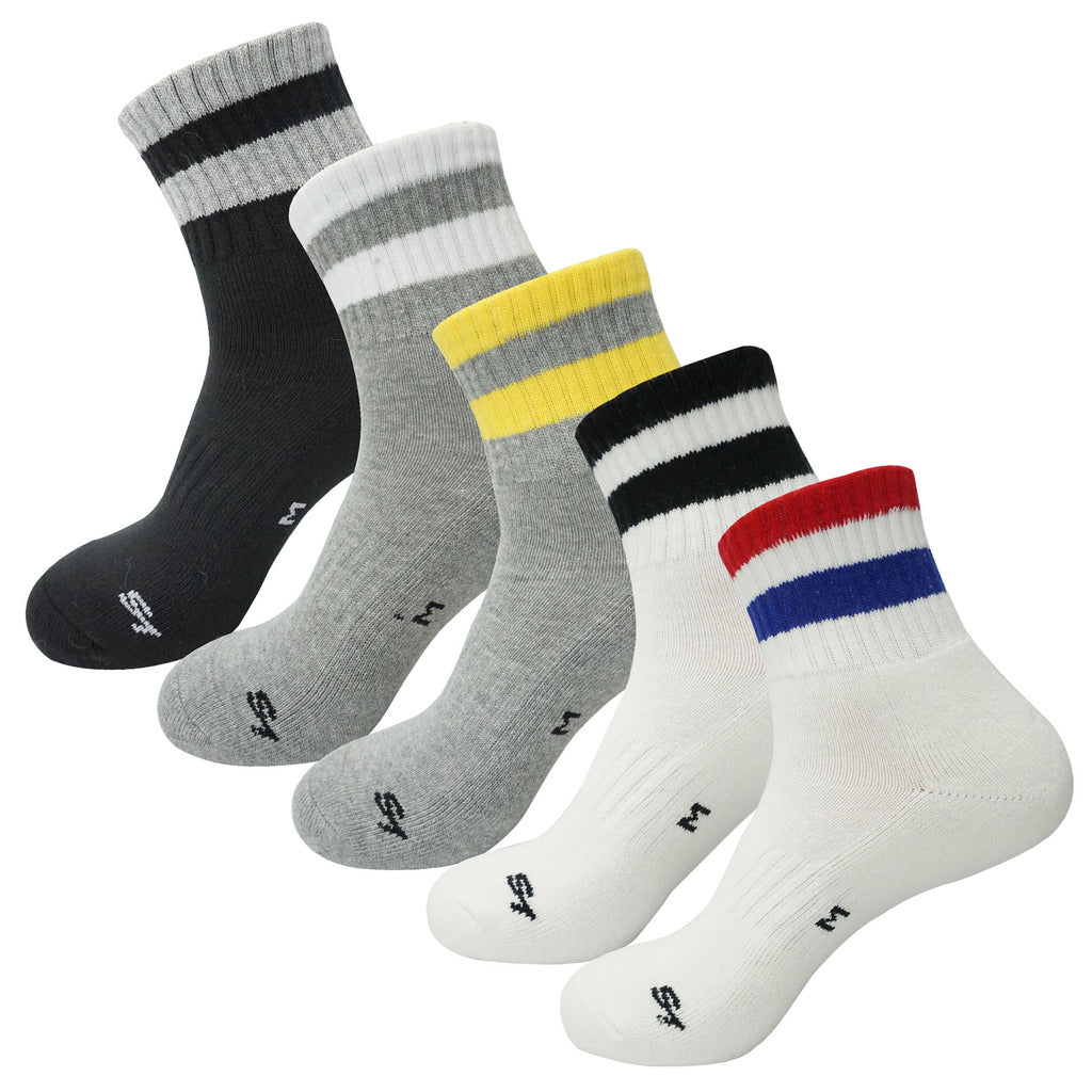 5Pack Men's Mid Cushion Low Cut Hiking/Camping/Performance Socks Ankle  Stripe