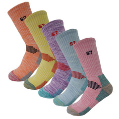 5Pack Women's Multi Performance Terry Cushion Hiking/Outdoor Crew Socks Year Round