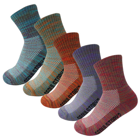 5Pack Women's Mid Cushion Low Cut Hiking/Camping/Performance Socks Multi Color