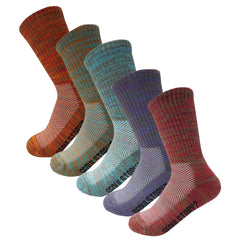 5Pack Women's Multi Performance Terry Cushion Hiking/Outdoor Crew Socks Multi Color