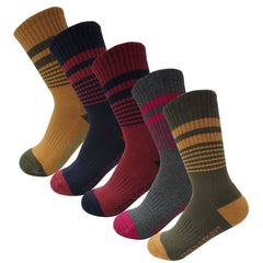 5Pack Women's Terry Cushion Hiking/Outdoor Crew Socks Vintage Stripe