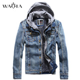 Men Hooded Fleece Jeans Jacket