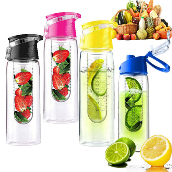 800ml Sport Fruit Infusing Eco-Friendly BPA Detox Bottle w/Flip Lid