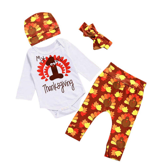 Thanksgiving Newborn Baby Girl Outfit Pants+Hat+Headband