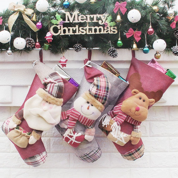 46*29cm Large Santa Claus, Snowman, Elk Christmas Stockings