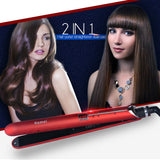 Kemei 2 in 1 Electric Straightening Iron / Curling Iron Travel