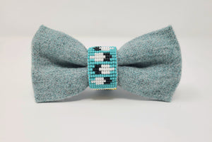 Native Hand-Beaded Bowtie - Turquoise