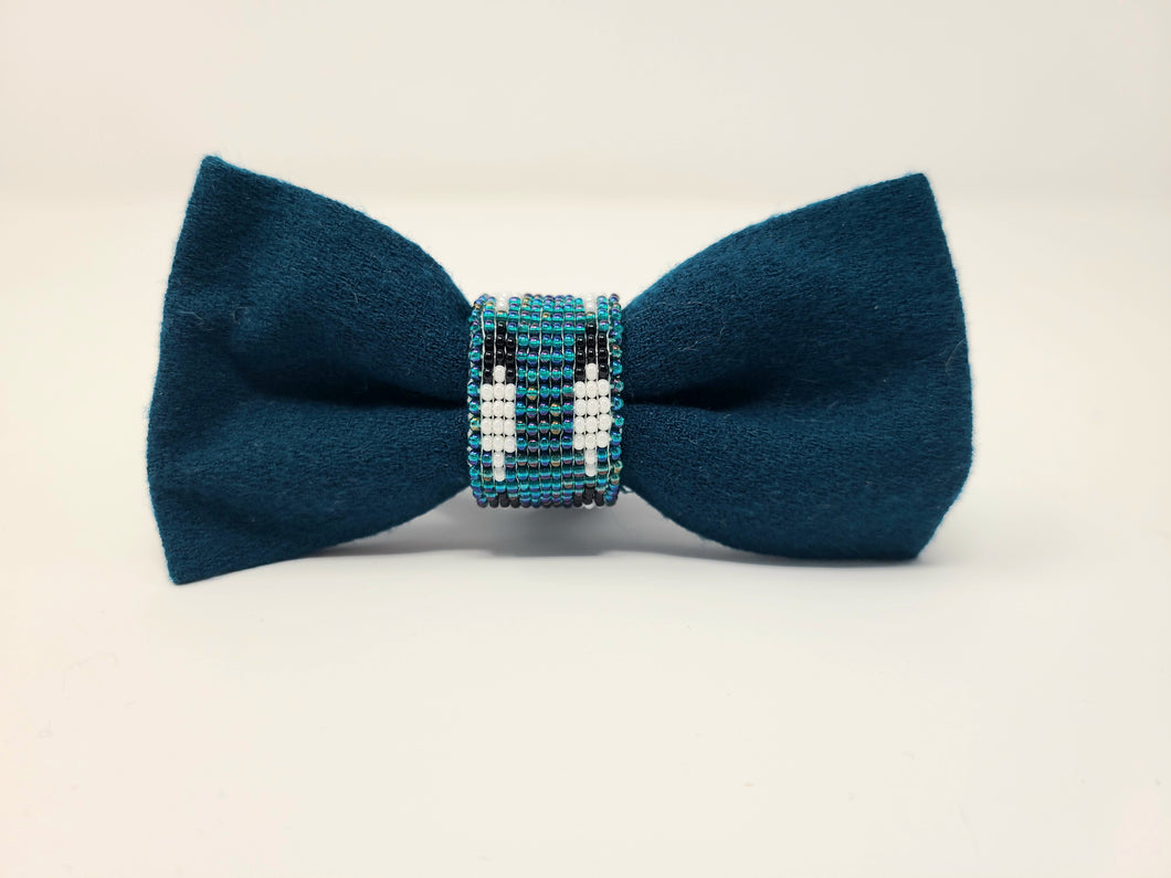 Native Hand-Beaded Bowtie - Teal