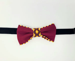 Native Hand-Beaded Bowtie - Pink