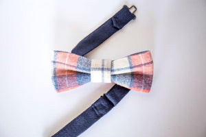 Salmon, blue, and gray plaid