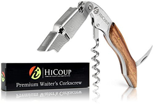 HiCoup Professional Grade Natural Rosewood All-In-One Corkscrew