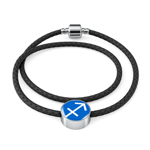 Sagittarius Woven Double-Braided Real-Leather Charm Bracelet