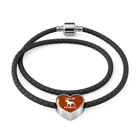 Love My Pitbull Woven Double Braided Leather Charm Bracelet