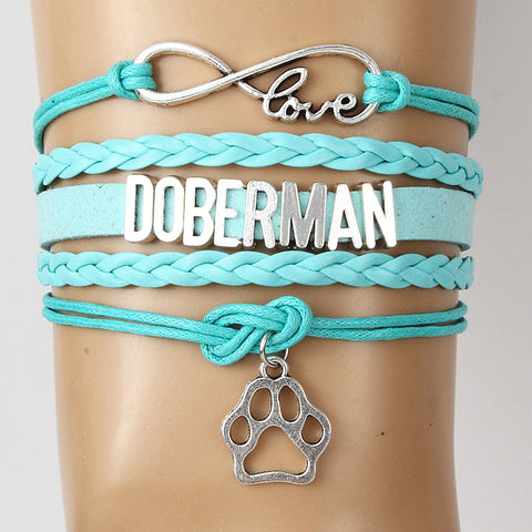 Doberman Love Dog Bracelet - Paw Pendant Unique Jewelry