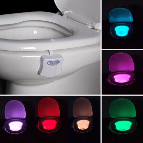 Motion Activated Colorful LED Toilet Light - 8 Color with On/Off Sensor
