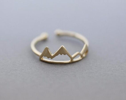 Fashion Snow Mountain Open Cuff Ring For Women - Adjustable Size