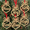 6Pcs Merry Christmas Decorations Wooden Hollow Ornament Christmas Tree Hanging Pendants