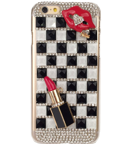 Lip Pearl Crystal Hard Cover Plastic Phone Case For iPhone 6 4.7 inch Size