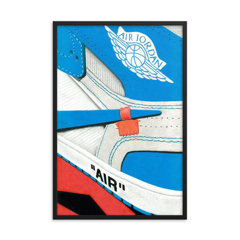 Air Jordan 1 x Off--White UNC Sneaker Art Print