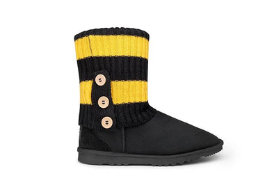Black Short UGG Boots + Black & Yellow UGG Socks