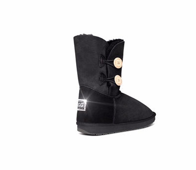 Swarovski Heel Double Button UGG Boots