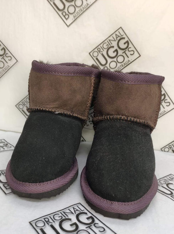 BLACK / CHOC ULTRA SHORT UGG BOOTS (8-9)
