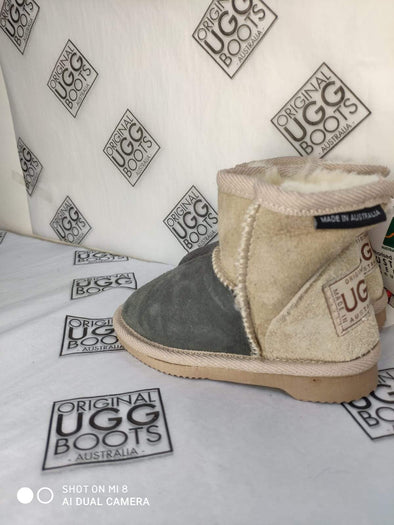 KIDS GREY/SAND ULTRA SHORT UGG BOOTS (SIZE 6-7)
