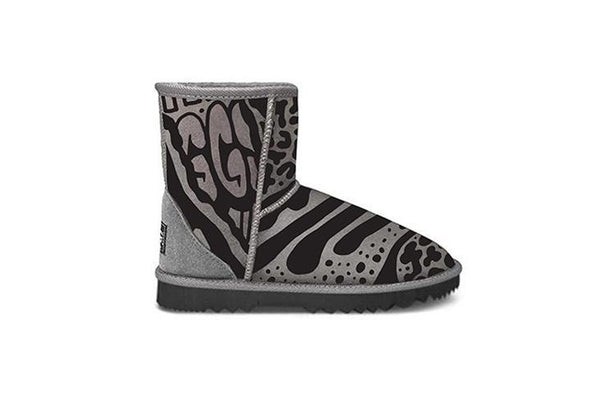 Grey Graffiti Short UGG Boots