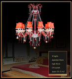 Red K9 Crystal Chandelier Lustre Crystal Chandeliers Light Lustres De Cristal Chandelier LED  Villa Red Lamp Living Room
