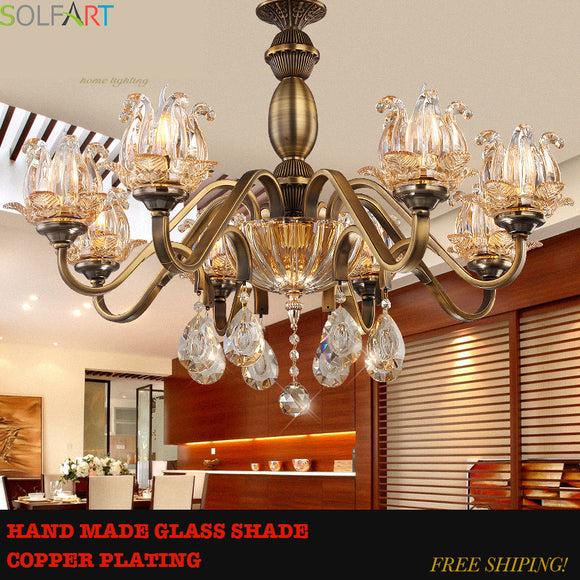 lamp   fan crystal 90-260V chandelier lighting antique bronze copper finish metal iron frame handmade handing lamp TD8002