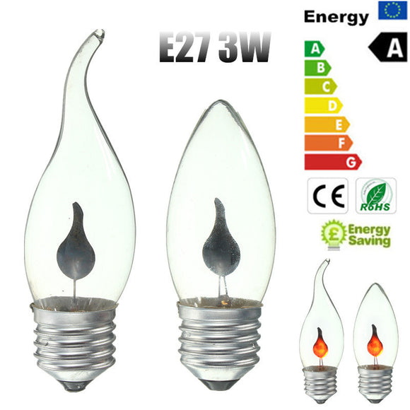 3W E27 LED Energy Saving Retro Fire Flickering Flame Candle Tail Edison Chandelier Flicker Light Bulb Lamp Red AC220V