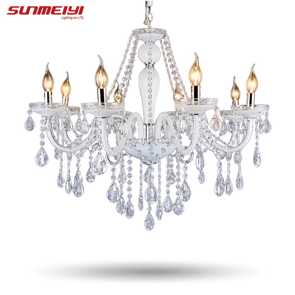 Modern Luster Crystal Chandeliers Lighting Wedding Decorations LED White Pendant Lamp For Foyer Dining Room Restaurant