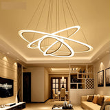 Modern LED lustre chandelier Luxury Ring Living Room led lamp Arc triangle Hanging Lighting Fixtures Adjustable Chandeliers