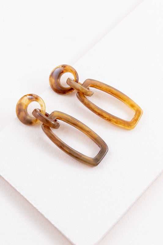 Double Linked Marble Earrings
