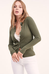 Harley Ribbed Button Top - Olive