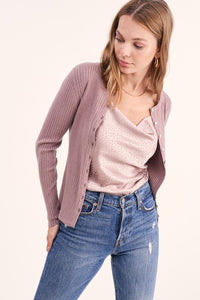 Harley Ribbed Button Top - Muave