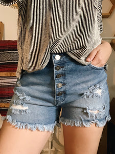 Button Down Shorts - Medium Wash
