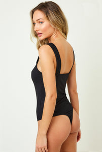 Stay Together V Cut Bodysuit (Black)