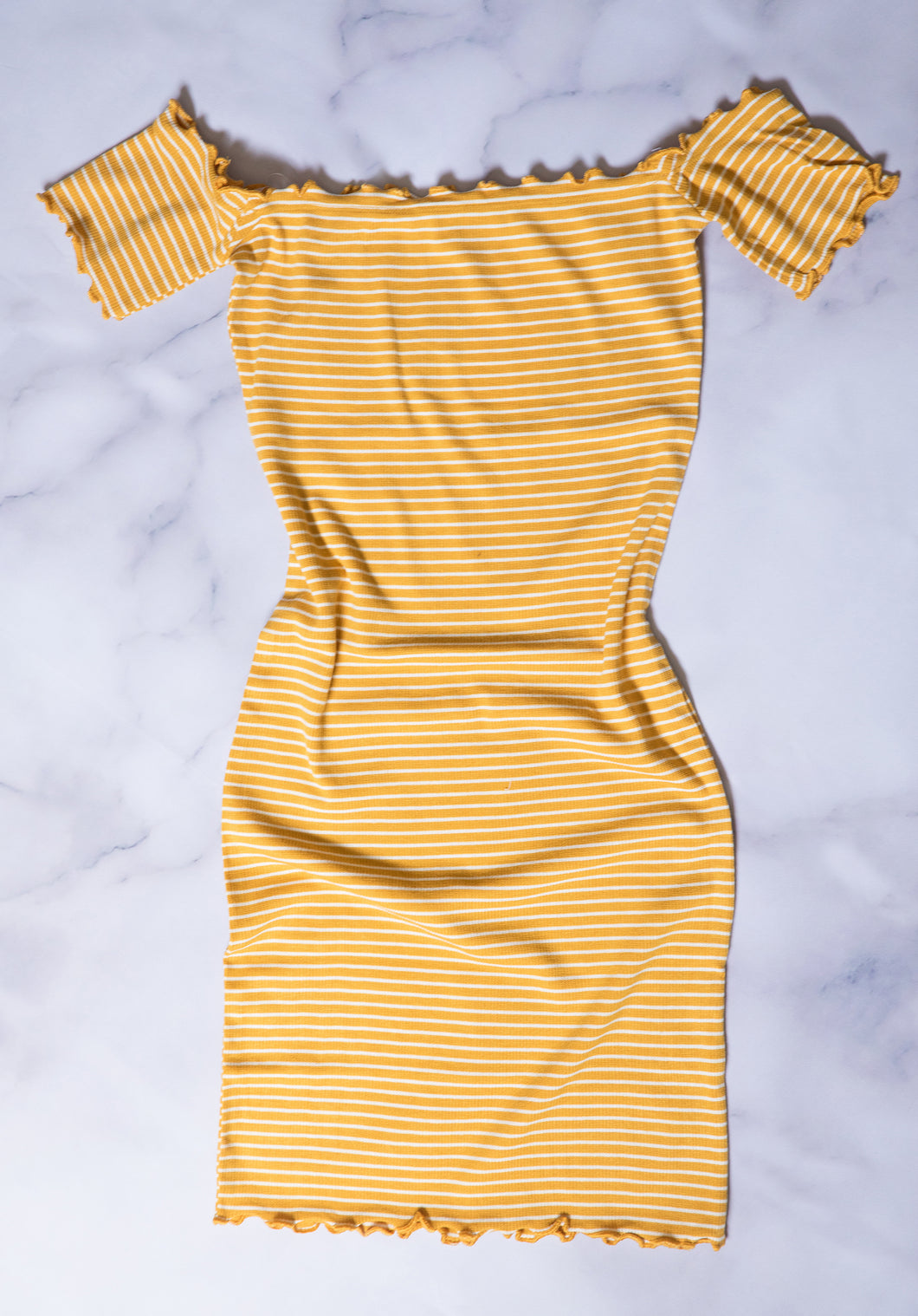 Off-The-Shoulder Striped Bodycon Dress