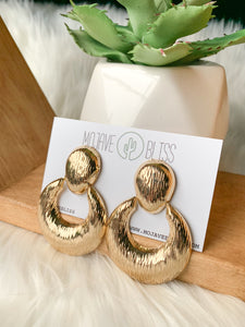 Gold Brushed Crescent Earrings