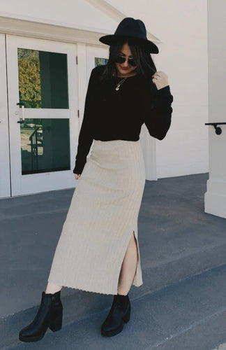 Oatmeal Ribbed Midi Skirt