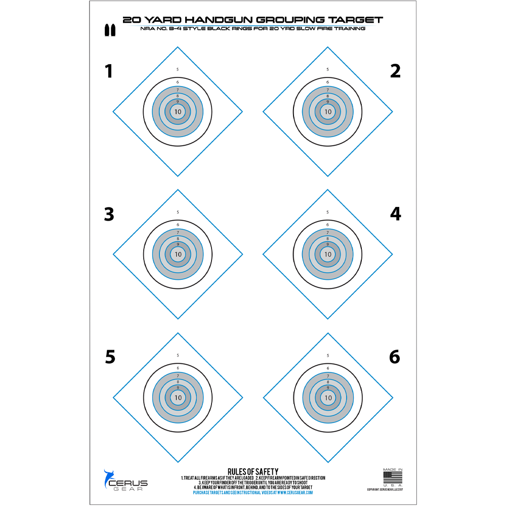 20 Yard Defensive Handgun Training Target