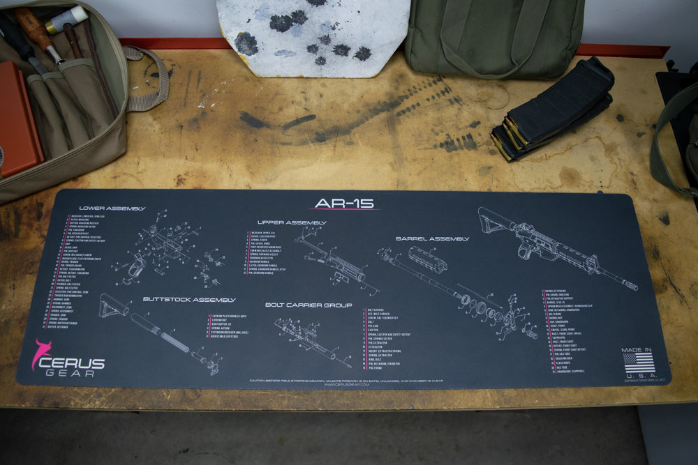 AR 15 SCHEMATIC PARTS LIST GUN CLEANING PRO MAT PINK WOMAN'S
