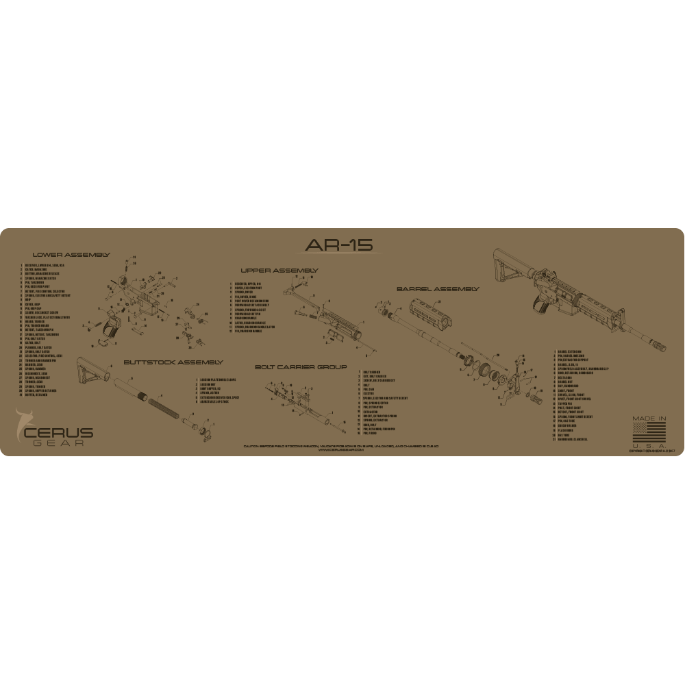 BEST TACTICAL AR15 SCHEMATIC GUN MAT COYOTE TAN