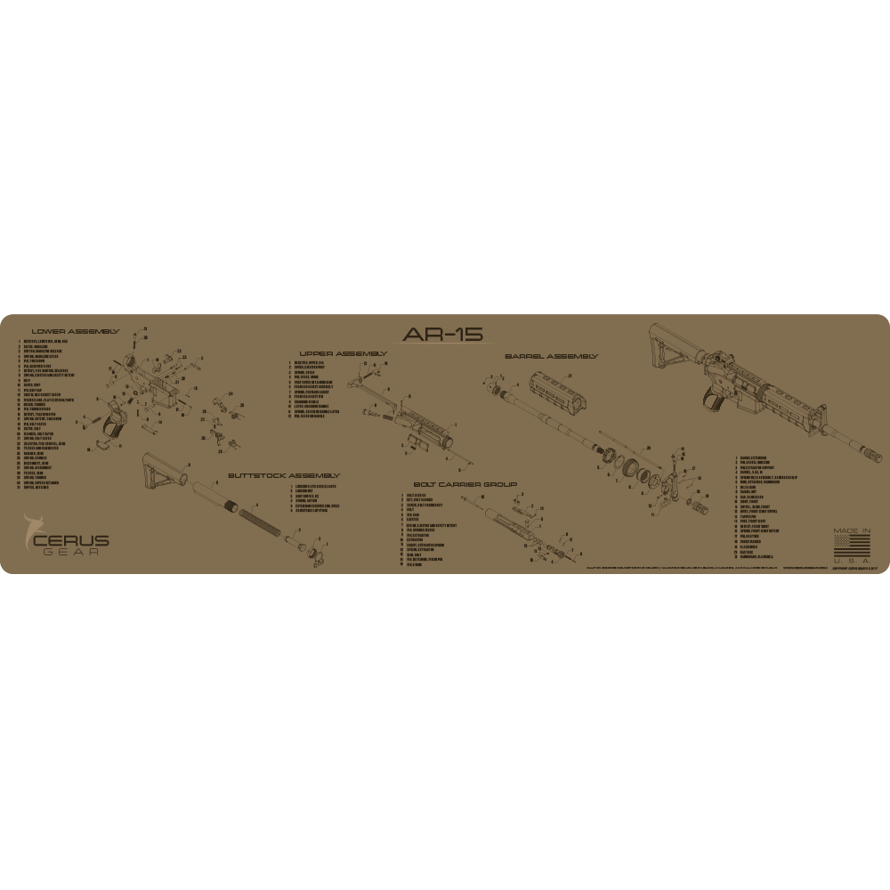 Flat Dark Earth Jumbo Schematic AR-15 Cleaning Mat