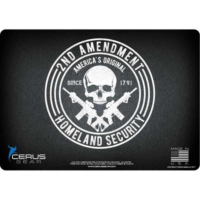 Show your Second Amendment Support with this Firearm Mat in Black Distress